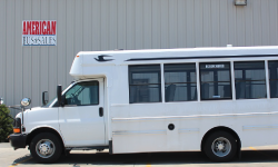 side profile of used white shuttle
